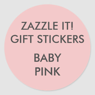 Custom BABY PINK ROUND Large Gift Stickers