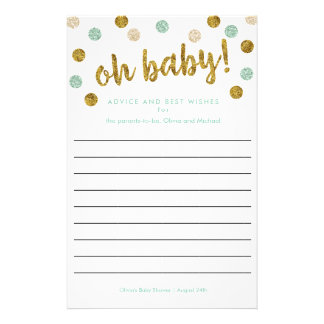 Custom Baby Shower Advice and Wishes | Mint, Gold Flyer
