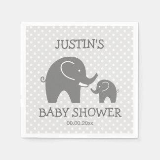 Custom baby shower napkins with cute grey elephant paper napkin