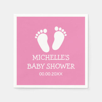 Custom Baby Shower party napkins with footprints Paper Napkins
