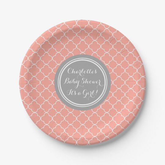 Custom Baby Shower Plate Grey Coral Quatrefoil 7 Inch Paper Plate