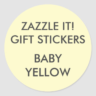 Custom BABY YELLOW ROUND LARGE Gift Stickers