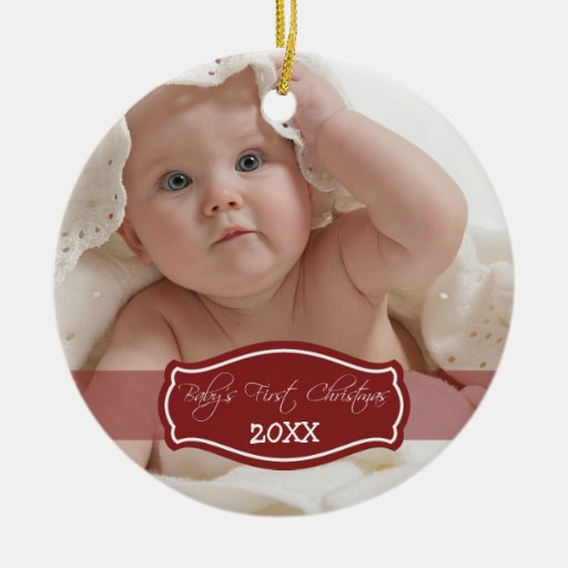 Custom Baby's First Christmas Ornament (red)