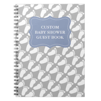 Custom babyshower guestbook with baby footprints notebook