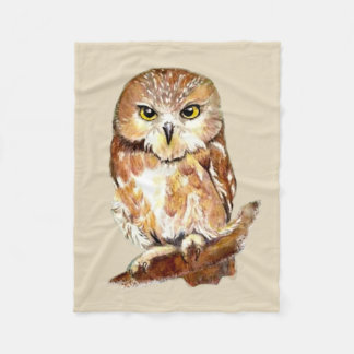 Custom Background Color Cute Little Owl Art Fleece Blanket