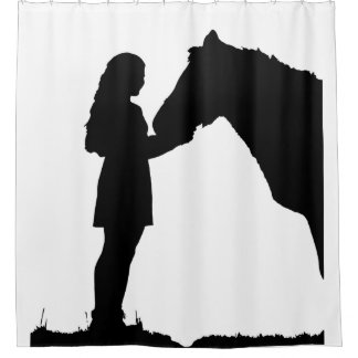 Custom Background Color Horse & Girl Animal Art