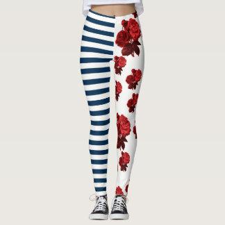 Custom background color Red White Blue Rose Stripe Leggings