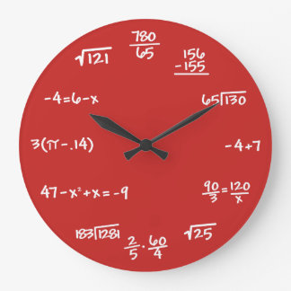 CUSTOM BACKGROUND - Math Chalkboard Wall Clock