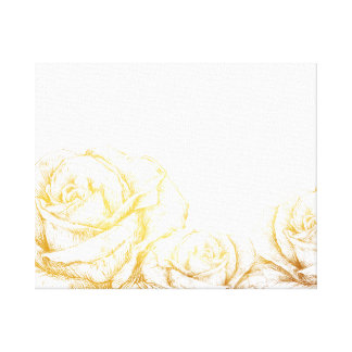 Custom Background Vintage Roses Floral Faux Gold Canvas Prints