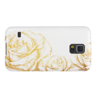 Custom Background Vintage Roses Floral Faux Gold Case For Galaxy S5