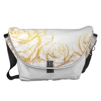 Custom Background Vintage Roses Floral Faux Gold Commuter Bags