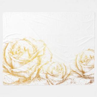 Custom Background Vintage Roses Floral Faux Gold Fleece Blanket