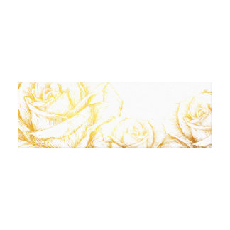 Custom Background Vintage Roses Floral Faux Gold Gallery Wrap Canvas