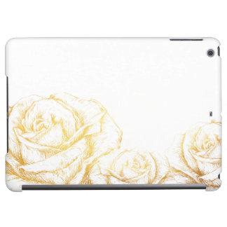 Custom Background Vintage Roses Floral Faux Gold iPad Air Covers