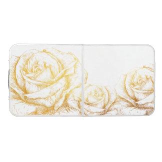 Custom Background Vintage Roses Floral Faux Gold Pong Table