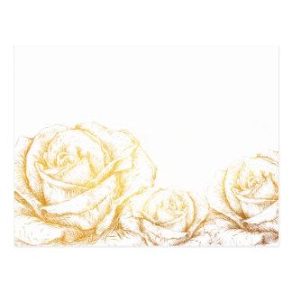 Custom Background Vintage Roses Floral Faux Gold Postcard