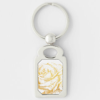 Custom Background Vintage Roses Floral Faux Gold Silver-Colored Rectangle Keychain