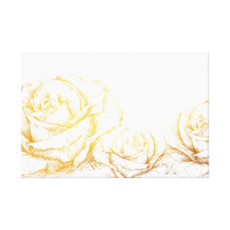 Custom Background Vintage Roses Floral Faux Gold Stretched Canvas Print