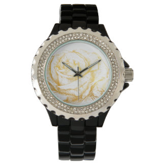 Custom Background Vintage Roses Floral Faux Gold Wrist Watch