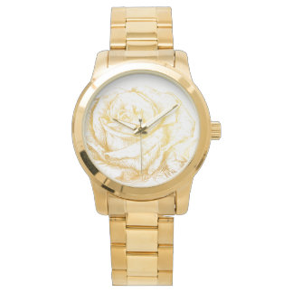 Custom Background Vintage Roses Floral Faux Gold Wrist Watches