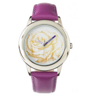 Custom Background Vintage Roses Floral Faux Gold Wristwatches