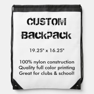"Custom Backpack Carryall Bag 19.25"" x 16.25"""