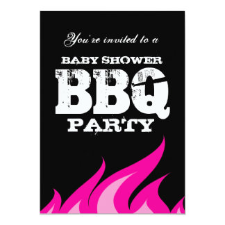 Custom backyard baby shower BBQ party invitations