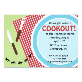 "Custom Backyard Cookout 5"" X 7"" Invitation Card"
