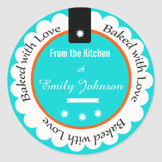 Custom Baked With Love Stickers Gift Tag Labels