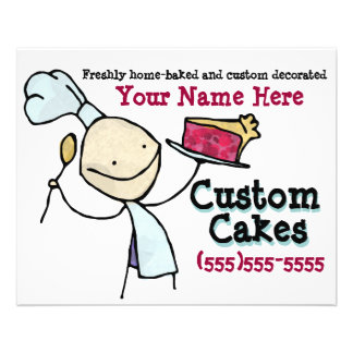 Custom Baking. Cake Decorating. Advertising flyer