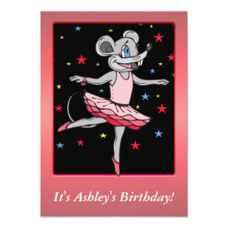 Custom Ballerina Mouse Birthday Party Invitation