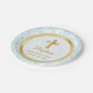 Custom Baptism in Blue, White Damask and Gold Paper Plate