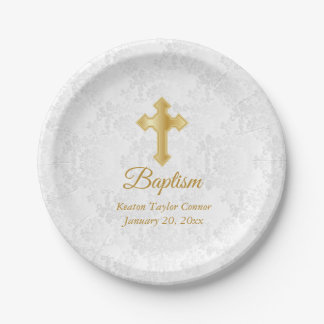 Custom Baptism in White Damask and Gold Paper Plate