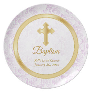 Custom Baptism Keepsake - Pink, White & Gold Plate