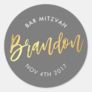 CUSTOM Bar Mitzvah for Brandon grey + gold Classic Round Sticker