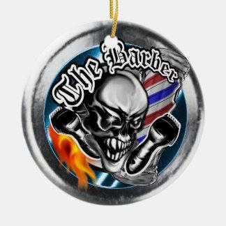 Custom Barber Skull with Flaming Razor Ceramic Ornament
