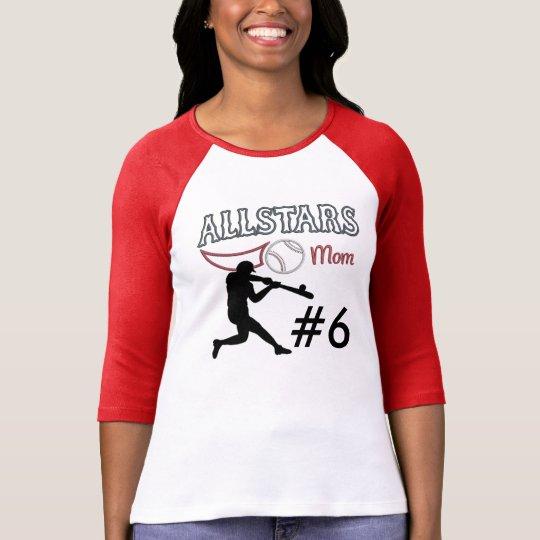 """Custom""""Baseball All Stars Mom"""" 3/4 Sleeved T-Shirt"""