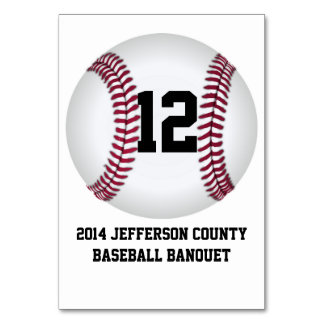 Custom Baseball Banquet Table Number Card