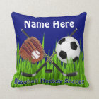 Custom Baseball Hockey Soccer Sports Throw Pillows