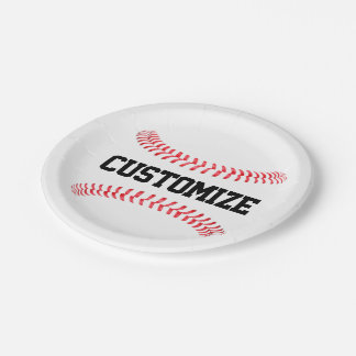 Custom Baseball Party or Banquet Paper Plates 7 Inch Paper Plate