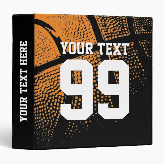Custom basketball binder with sports jersey number