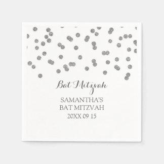 Custom Bat Mitzvah Napkin Mint Silver Confetti Paper Napkins