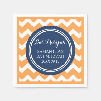 Custom Bat Mitzvah Napkin Orange Blue Chevron Paper Napkin