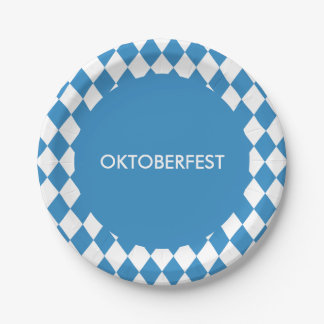 Custom Bavarian Geometric Pattern for Oktoberfest. Paper Plate
