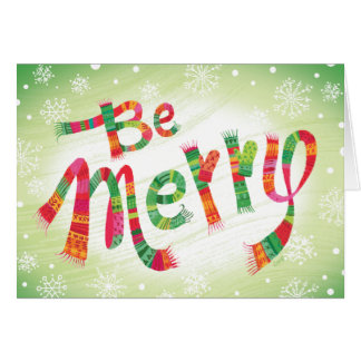 Custom Be Merry Scarf Mitten Christmas Card