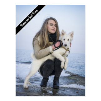 Custom Beach Dog and Girl  Photo template Postcard