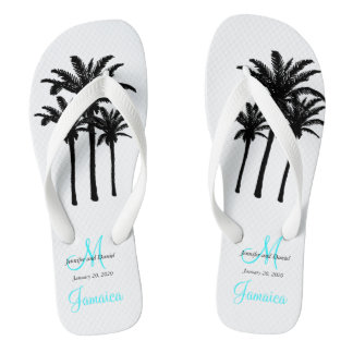 Custom Beach Jamaica Wedding Flip Flops