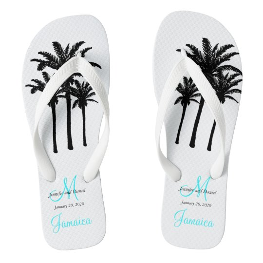 Custom Beach Jamaica Wedding Flip Flops
