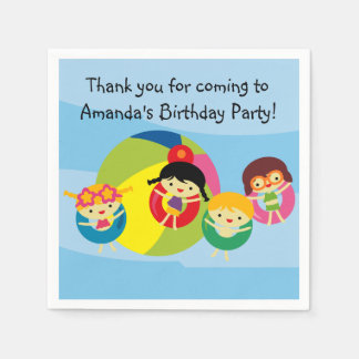 Custom Beach Pool Party Birthday Paper Napkins