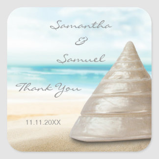Custom Beach Sand Sea Shell Wedding Gift Favors Square Sticker